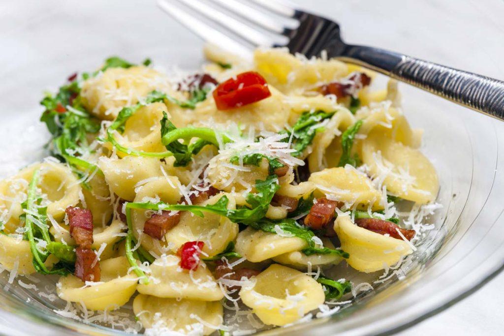 100% bio, rucola, parmigiano, extra vergine, cipolla, pancetta, cucina, ricetta, rustichella, abruzzo, bio, pasta, artiginale, olio