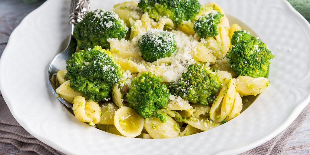 orecchiette, piatto, bianco, forchetta, broccoli